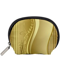 Golden Wave Floral Leaf Circle Accessory Pouches (Small)