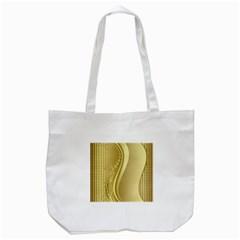 Golden Wave Floral Leaf Circle Tote Bag (White)