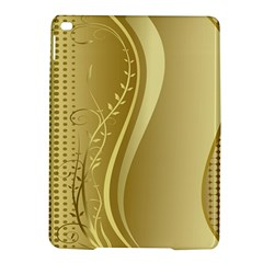 Golden Wave Floral Leaf Circle iPad Air 2 Hardshell Cases