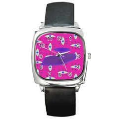 Eye Purple Pink Square Metal Watch