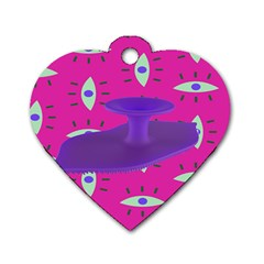 Eye Purple Pink Dog Tag Heart (Two Sides)