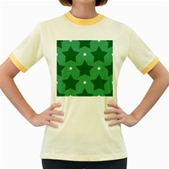 Green White Star Women s Fitted Ringer T-Shirts