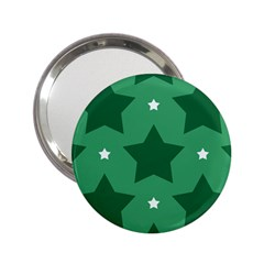 Green White Star 2 25  Handbag Mirrors
