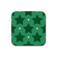 Green White Star Rubber Square Coaster (4 pack)