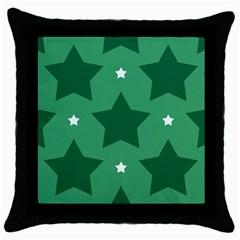 Green White Star Throw Pillow Case (black)