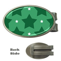 Green White Star Money Clips (Oval)