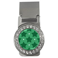 Green White Star Money Clips (CZ)