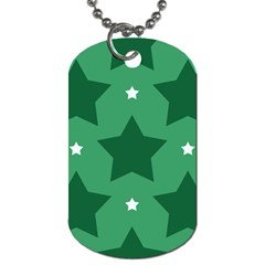 Green White Star Dog Tag (Two Sides)