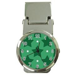 Green White Star Money Clip Watches