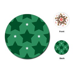 Green White Star Playing Cards (Round)