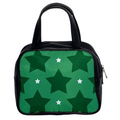 Green White Star Classic Handbags (2 Sides)