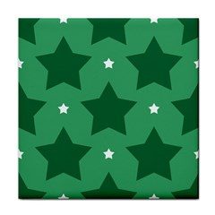 Green White Star Face Towel