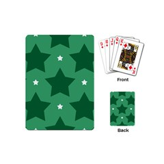Green White Star Playing Cards (mini)