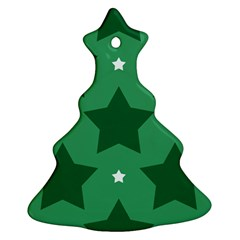 Green White Star Christmas Tree Ornament (Two Sides)