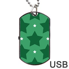 Green White Star Dog Tag USB Flash (Two Sides)