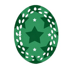 Green White Star Oval Filigree Ornament (Two Sides)