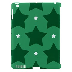 Green White Star Apple iPad 3/4 Hardshell Case (Compatible with Smart Cover)