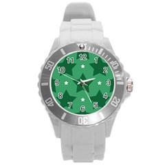 Green White Star Round Plastic Sport Watch (L)
