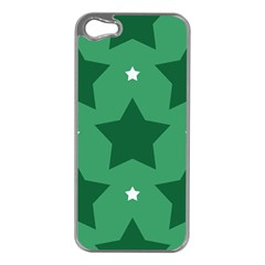 Green White Star Apple iPhone 5 Case (Silver)