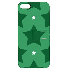 Green White Star Apple iPhone 5 Hardshell Case with Stand