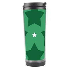 Green White Star Travel Tumbler