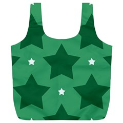 Green White Star Full Print Recycle Bags (L)