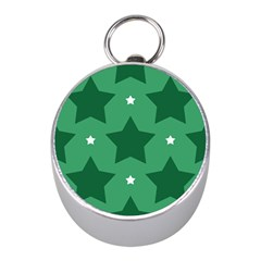 Green White Star Mini Silver Compasses