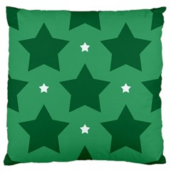 Green White Star Large Flano Cushion Case (One Side)