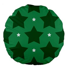 Green White Star Large 18  Premium Flano Round Cushions