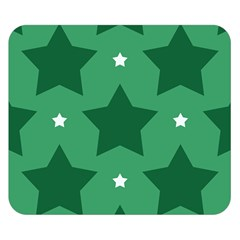 Green White Star Double Sided Flano Blanket (Small)