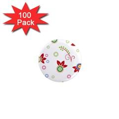 Floral Flower Rose Star 1  Mini Magnets (100 pack)