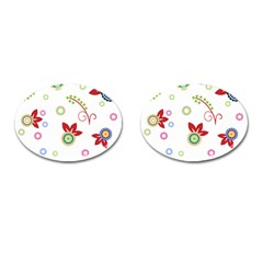 Floral Flower Rose Star Cufflinks (oval)