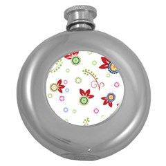 Floral Flower Rose Star Round Hip Flask (5 oz)
