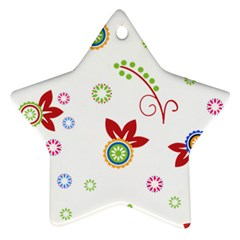 Floral Flower Rose Star Star Ornament (Two Sides)
