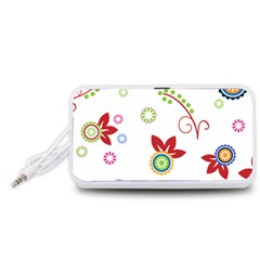 Floral Flower Rose Star Portable Speaker (White)