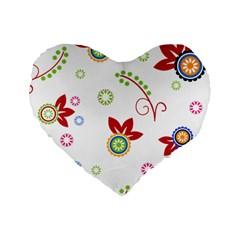 Floral Flower Rose Star Standard 16  Premium Flano Heart Shape Cushions