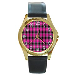Cell Background Pink Surface Round Gold Metal Watch