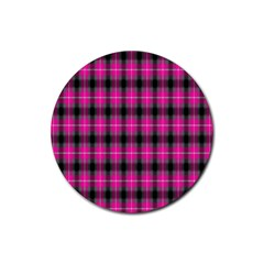 Cell Background Pink Surface Rubber Round Coaster (4 pack)