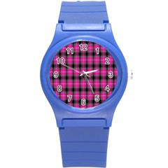Cell Background Pink Surface Round Plastic Sport Watch (S)