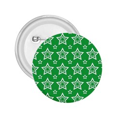 Green White Star Line Space 2.25  Buttons