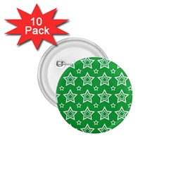 Green White Star Line Space 1.75  Buttons (10 pack)