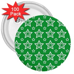 Green White Star Line Space 3  Buttons (100 Pack)