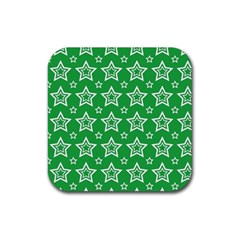 Green White Star Line Space Rubber Square Coaster (4 pack)
