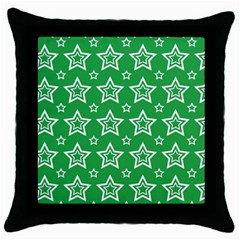 Green White Star Line Space Throw Pillow Case (Black)