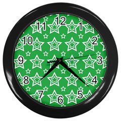 Green White Star Line Space Wall Clocks (Black)