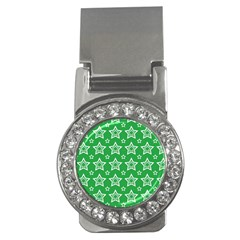 Green White Star Line Space Money Clips (cz)