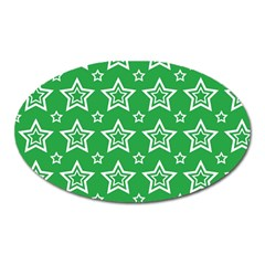 Green White Star Line Space Oval Magnet