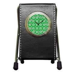 Green White Star Line Space Pen Holder Desk Clocks