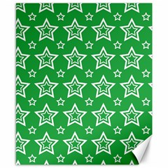 Green White Star Line Space Canvas 8  x 10