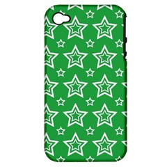 Green White Star Line Space Apple iPhone 4/4S Hardshell Case (PC+Silicone)